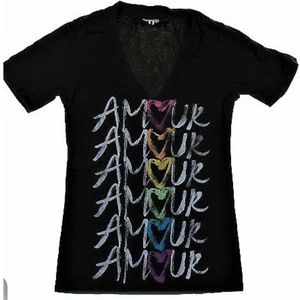 Junk Food Amour Rainbow Heart V-Neck Tee